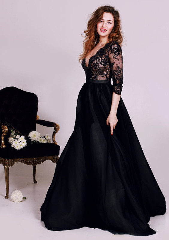 Prom Dresses Black Deep V Neck Lace Formal Occasion Dress Gorgeous A